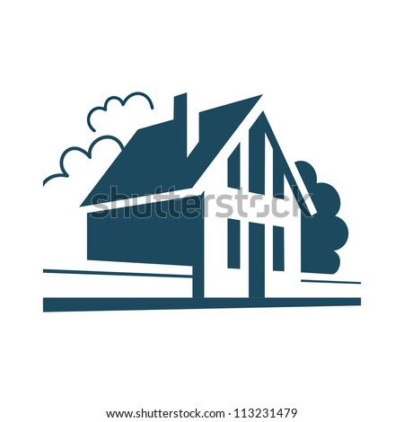 Vector house. Simple stylized icon of cottage in the village. Perspective view of street with private building, trees and fence. Abstract sign of suburban real estate. Black and white illustration - stock vector