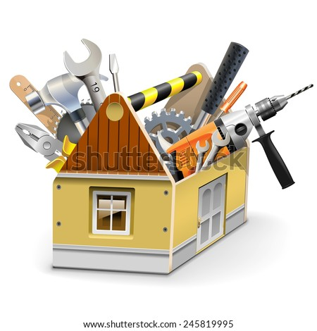 Vector House Toolbox - stock vector
