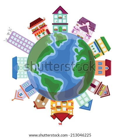 Vector houses on the earth