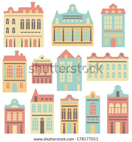 vector houses set - stock vector