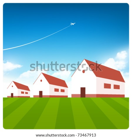 Vector houses with blue sky - stock vector