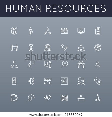 Vector HR Line Icons - stock vector