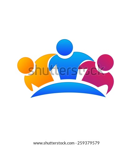 Vector hugging friends teamwork concept business image logo template.Internet people. Family concept icon. Friendship partnership meeting group. - stock vector