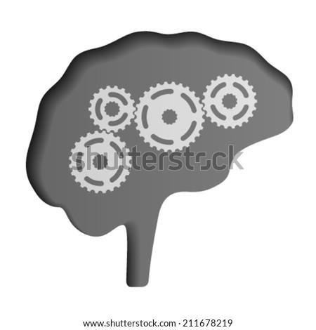 vector human brain icon - stock vector