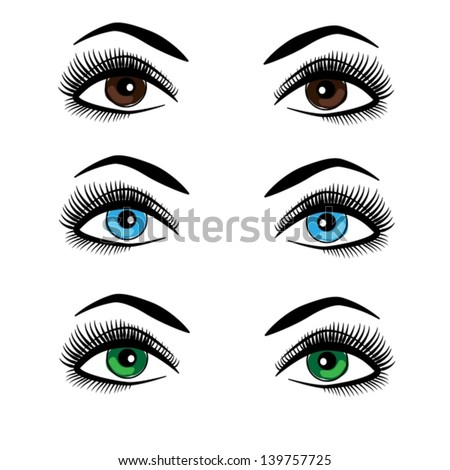 Vector human female eyes illustration. Make-up. Colored lenses.  - stock vector