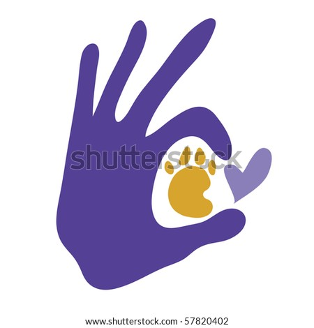 Vector human hand encircling paw print with love.