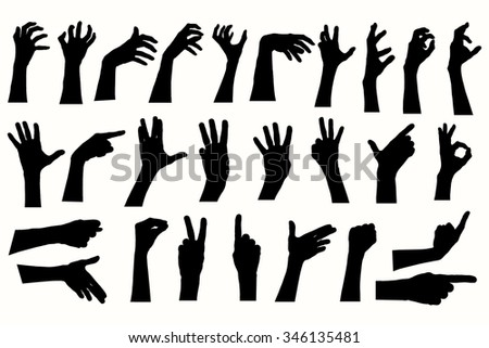Vector human hands, different hands, gestures, signals and signs.  - stock vector