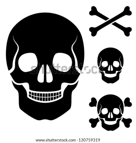 Vector human skull cross bones symbol - stock vector