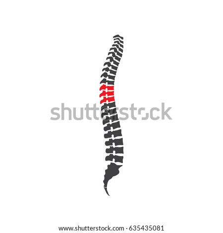 Vector human spine isolated silhouette illustration. Spine pain medical center, clinic, institute.