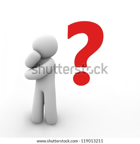 Vector human with a question mark over his head. 8 eps - stock vector