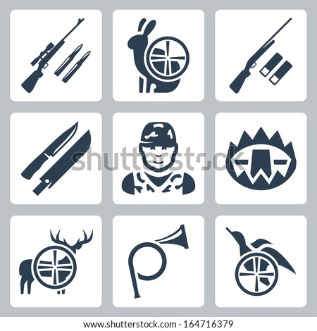 Vector hunting icons set: sniper rifle, hare, shotgun, hunting knife and sheath, hunter, trap, deer, hunting horn, duck - stock vector