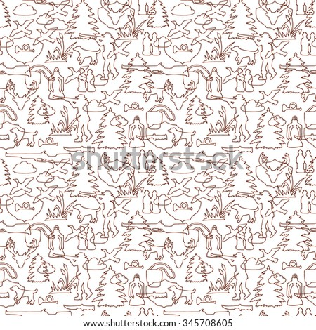 Vector Hunting Seamless pattern. Hand drawn doodle hunting equipment