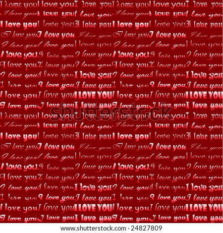 vector I love you on red background