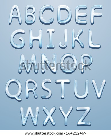 Vector ice alphabet - stock vector