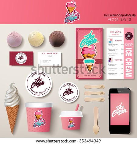 Vector ice cream corporate identity template design set. Branding mock up. - stock vector