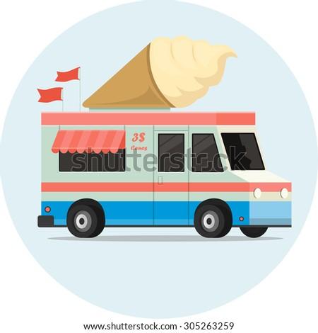 Vector ice cream retro truck - stock vector
