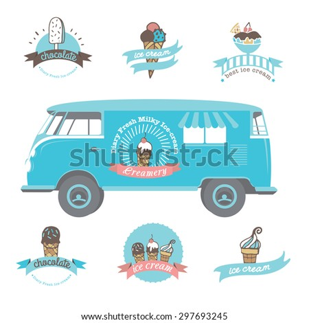 Vector ice cream truck. Set of vintage and modern ice cream shop logo badges and labels - stock vector