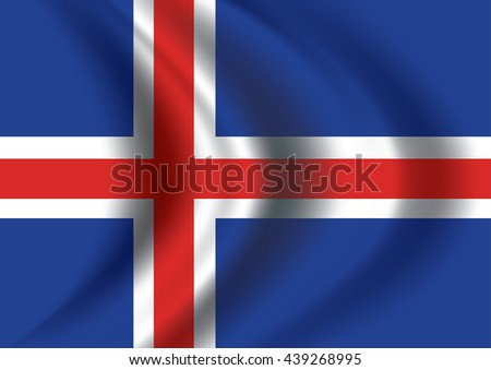 Vector Iceland flag blowing in the wind. Background texture.