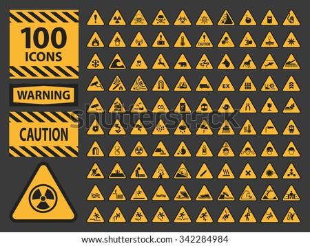 vector icn set triangle yellow warning stock vector