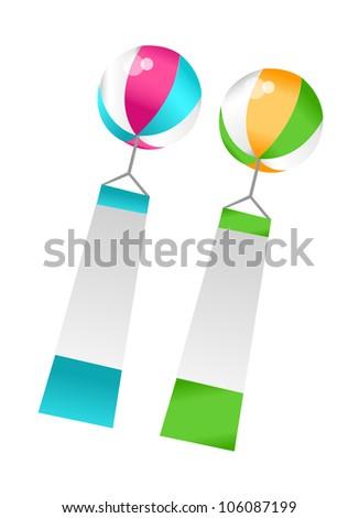 vector icon balloon and plancard - stock vector