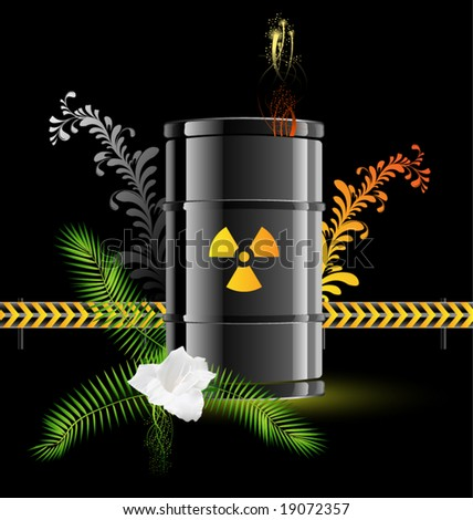 vector icon barrels of radioactive contents, mark - stock vector