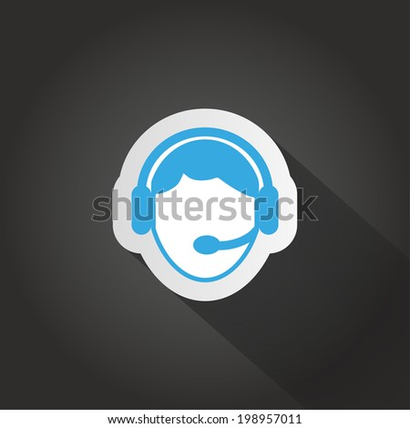 vector icon blue on a dark background - stock vector