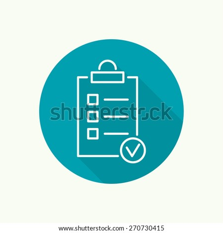 Vector icon. clipboard with to do list and pencil. Lines with check boxes. checklist for note. consent. check mark. election and voting. outline. long shadow, flat design. minimal - stock vector