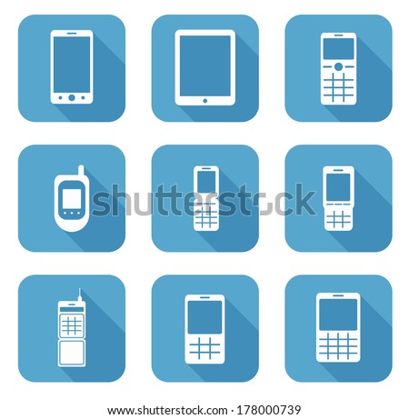 vector icon collection of mobile phones - stock vector