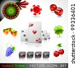 Vector icon collection on a casino and fortune theme. - stock photo