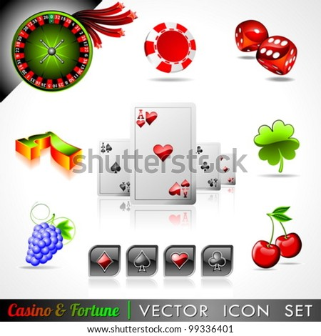 Vector icon collection on a casino and fortune theme. - stock vector