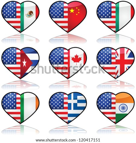 Vector icon collection showing the flag of the United States in a divided heart sharing it with other nationalities that have a significant number of immigrants in the country - stock vector