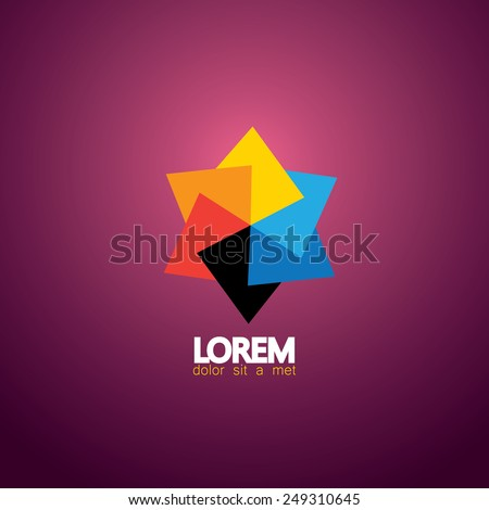 vector icon colorful paper star made of vibrant color papers on pick background - stock vector