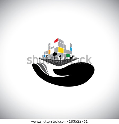 vector icon - concept of buying house, home, property. This graphic of woman's hand with building can also represent purchasing assets, creating wealth, real estate market, owning residential property - stock vector