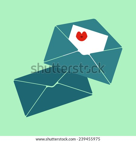 vector icon flt design email, romantic letters - stock vector