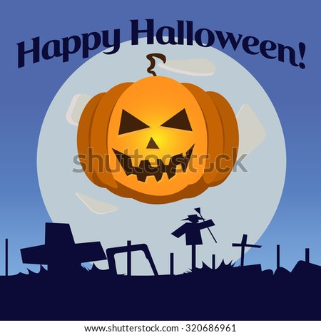 Vector icon for the holiday Halloween with the image of a pumpkin against the moon - stock vector