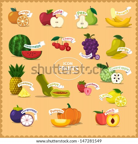 Vector Icon fruits and slice with style cartoon vintage  - stock vector
