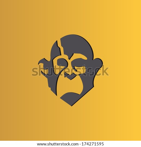 Vector icon graphics monkey head on yellow background - stock vector