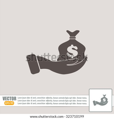 Vector icon hand silhouette protecting dollar money bag exchange - stock vector
