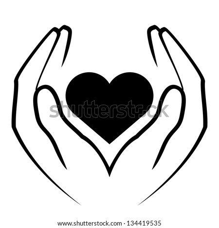 Vector icon - hands holding heart - stock vector