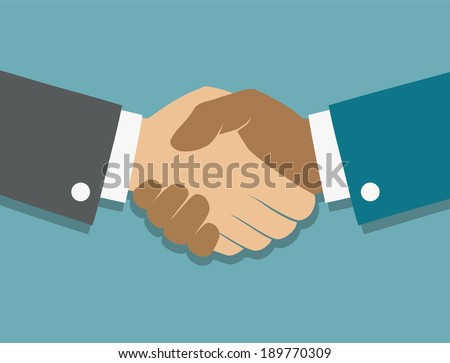 Vector icon handshake. Background for business and finance - stock vector