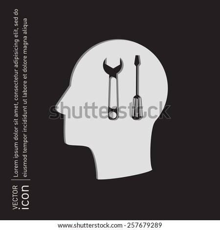 Vector Icon head think silhouette vector man and his mind about symbol settings sign, screwdriver and wrench - stock vector