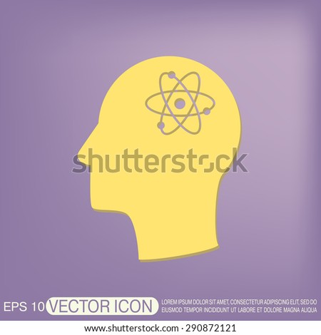 Vector Icon head think silhouette vector man and his mind about the atom, molecule. the symbol of physics and chemistry. symbol icon of physics or chemistry . the study of science - stock vector