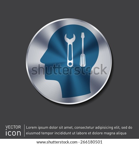 Vector Icon head think silhoutte vector man and his mind about symbol settings sign, screwdriver and wrench - stock vector