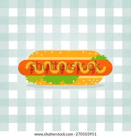 Vector icon hot dog illustration. Minimalist food icon in flat style. Sausage in a bun. Lettuce, sesame, mustard. checkered tablecloth background.  - stock vector