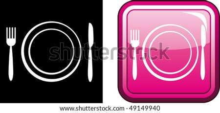 Vector icon illustration of plate with fork, knife - stock vector
