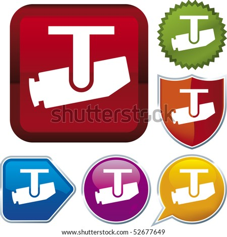 Vector icon illustration of surveillance camera over diverse buttons. Only global colors. CMYK. Easy color and proportions changes. - stock vector