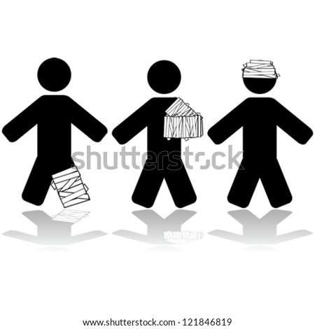 Vector icon illustration showing people injured in different parts of their body - stock vector