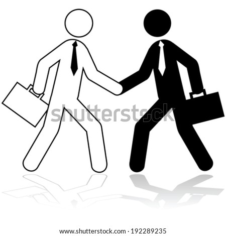 Vector icon illustration showing two stick figures dressed up as businessmen shaking hands - stock vector