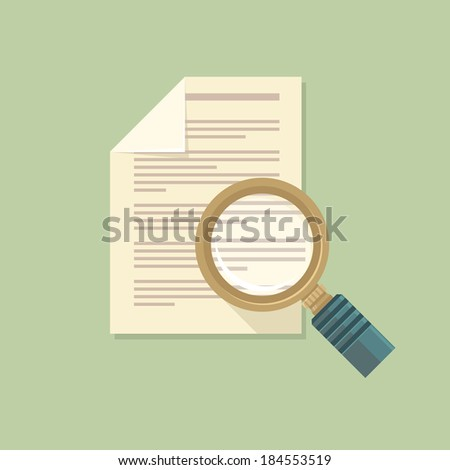 Vector icon in flat style - magnifier and paper document - stock vector