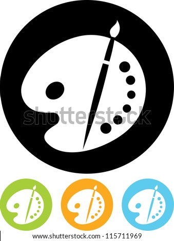 Vector icon isolated on white - Color palette and artistic brush - stock vector